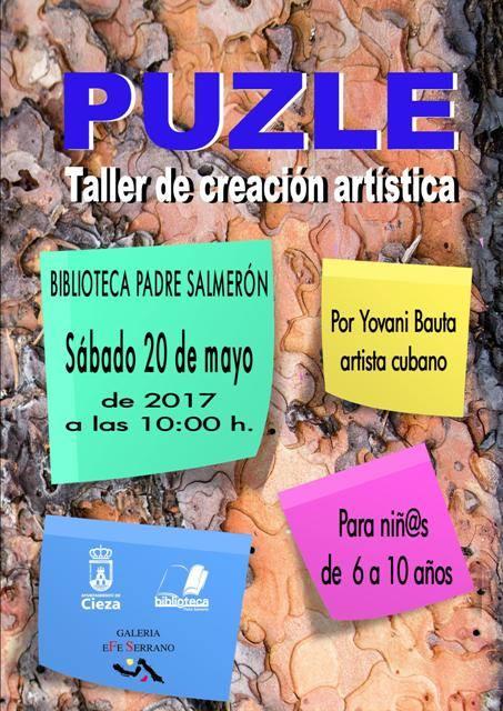 'Puzle' Taller de Creación Artística este sábado en la Biblioteca Padre Salmerón