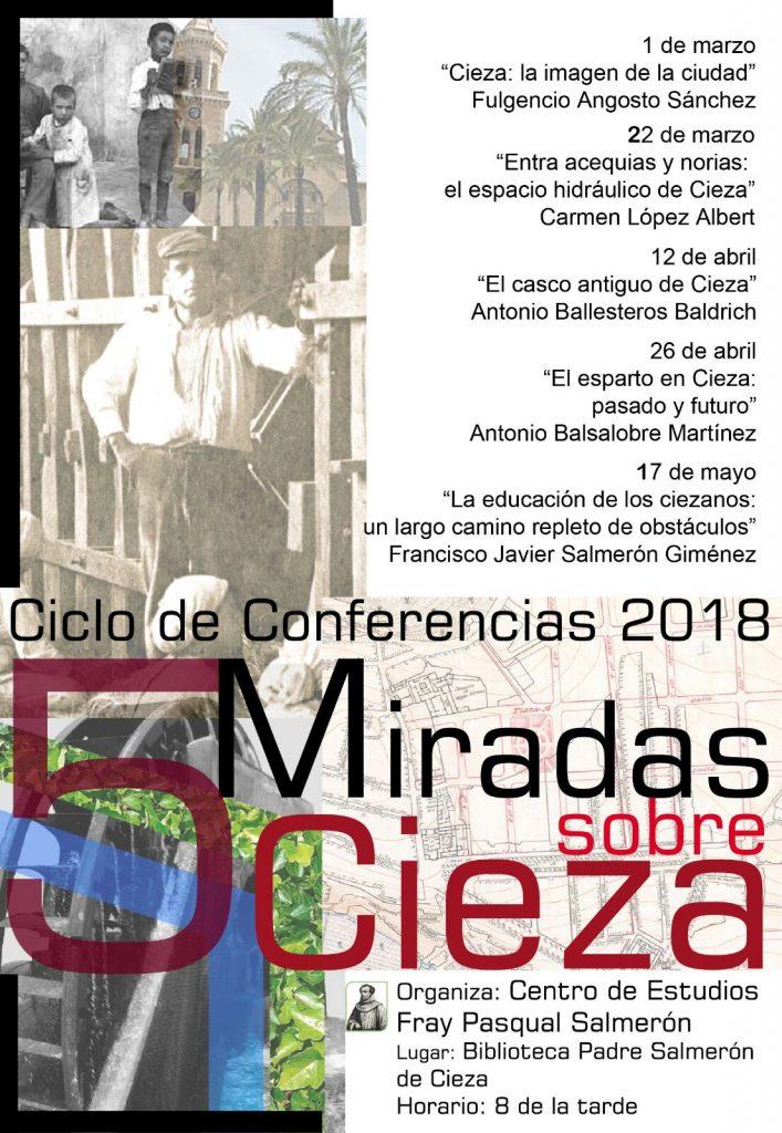 Cartel charlas del Centro Histórico Fray Pascual Salmerón de Cieza.