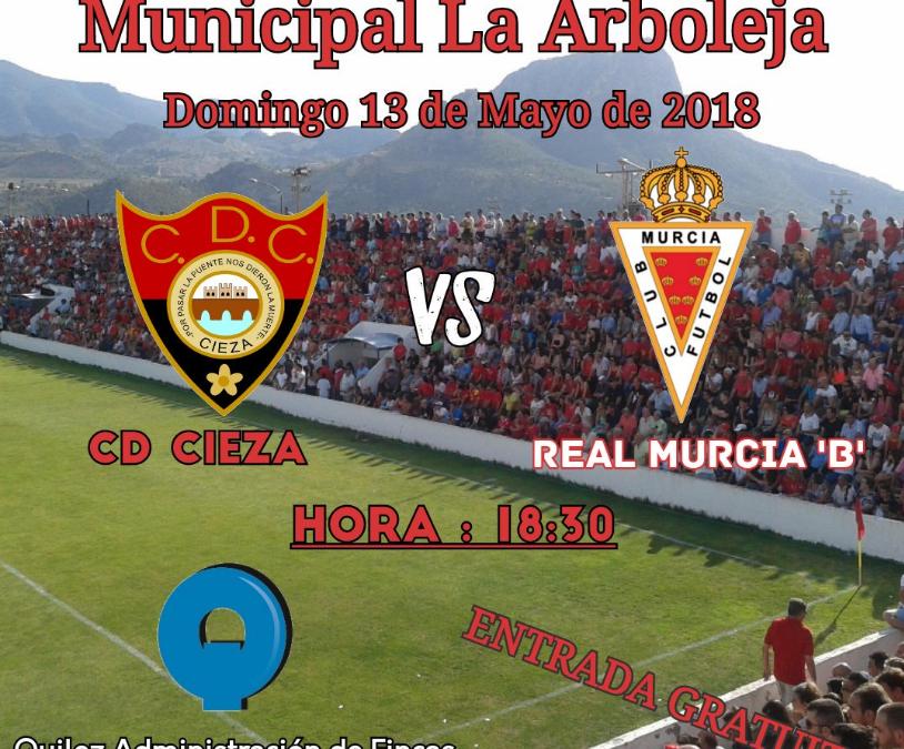 El C.D. Cieza se enfrenta este domingo en la Arboleja al Real Murcia Imperial