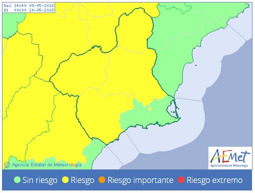 AEMET emite aviso amarillo por tormentas a partir de las 12:00 horas de esta miércoles en la Región de Murcia