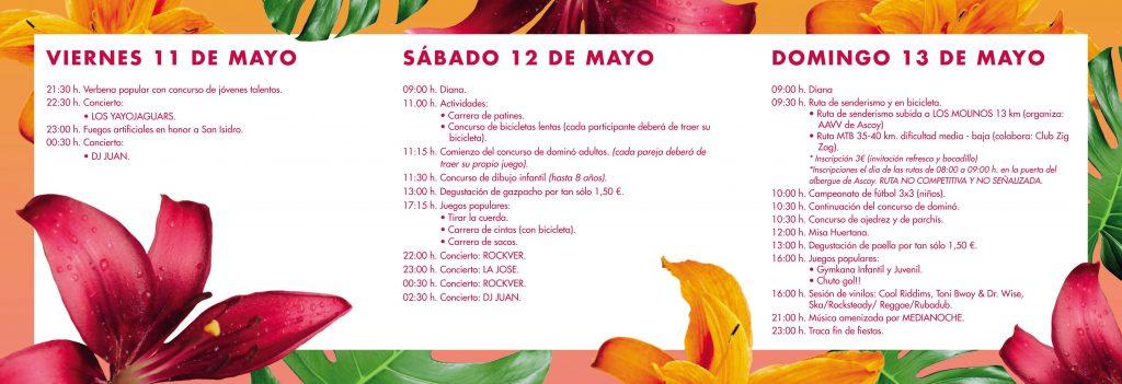 Flyer de las Fiestas de San Isidro en Ascoy de Cieza 2018.