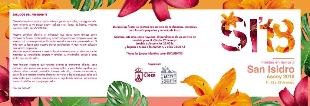Flyer con el saludo por las Fiestas de San Isidro en Ascoy, 2018.