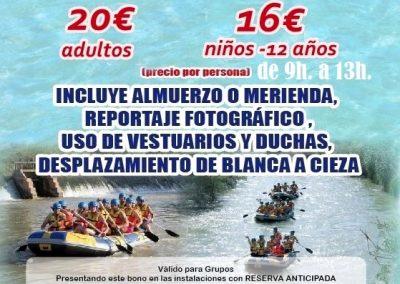 Cartel con el descenso del Río Segura rafting por Cieza y Blanca.