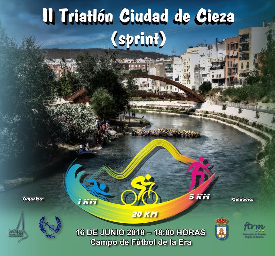 Cartel con la información del II Triatlón Ciudad de Cieza.