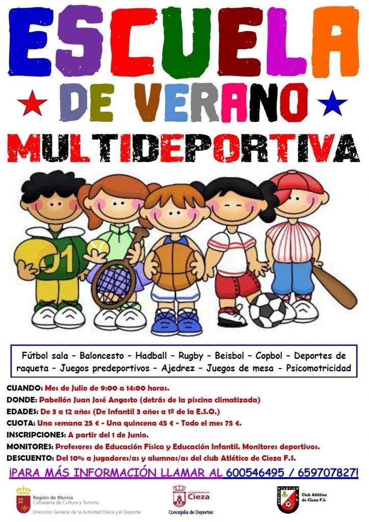 Cartel con la información de la Escuela de Verano Multideportiva del Club Atlético Cieza.