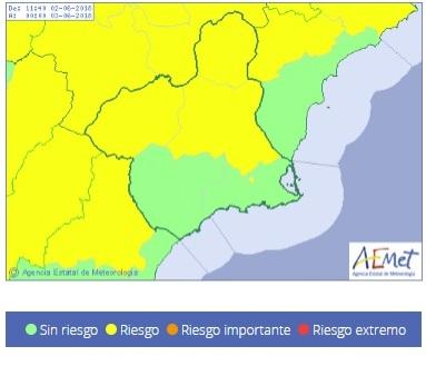 AEMET, establece para hoy, avisos de fenómenos meteorológicos adversos nivel amarillo por lluvias y tormentas en la Región de Murcia