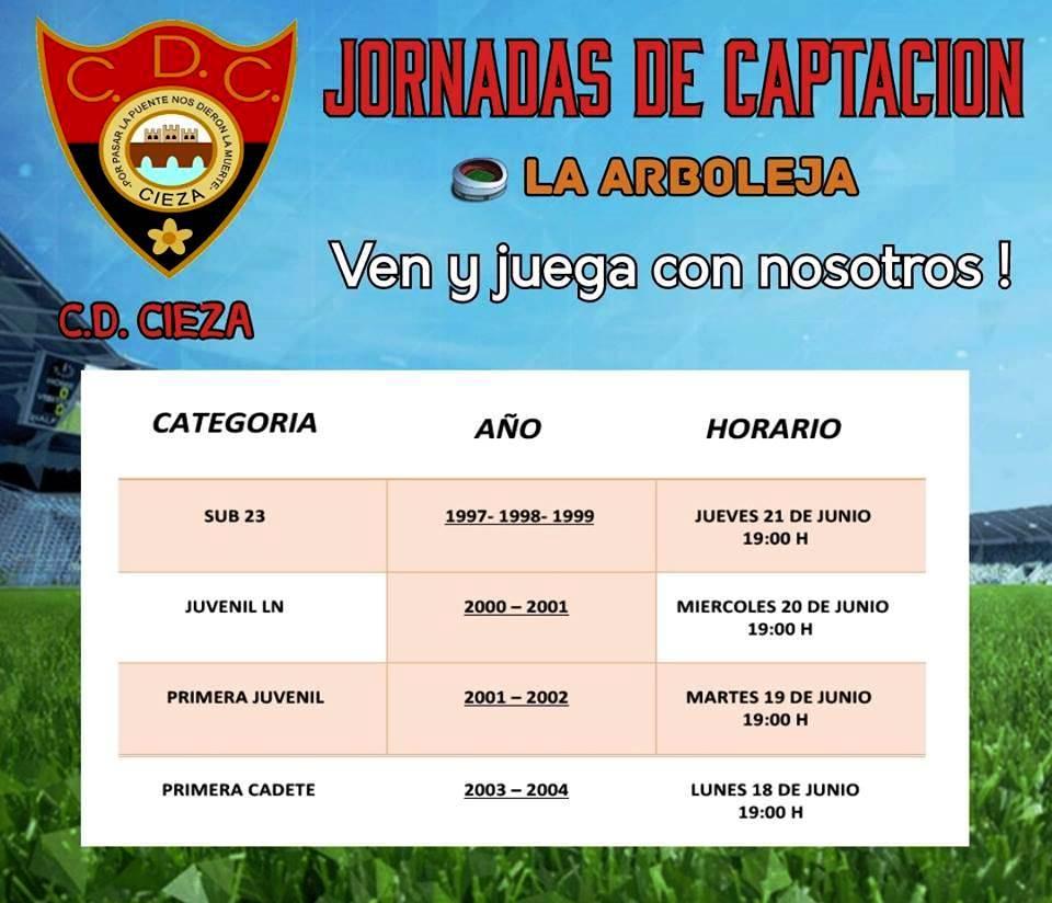 Imagen con la información de las Jornadas de captación del Club Deportivo Cieza.