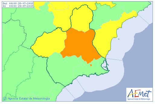 Aemet ha emitido para mañana 28 de julio aviso nivel naranja por aumento de temperaturas que pueden llegar hasta los 40º
