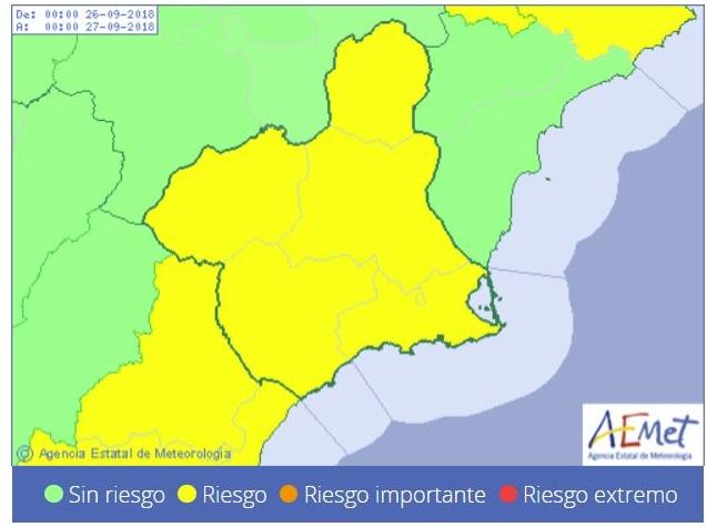 La Agencia Estatal de Meteorología emite aviso amarillo de fenómeno adverso por lluvias en toda la Región de Murcia