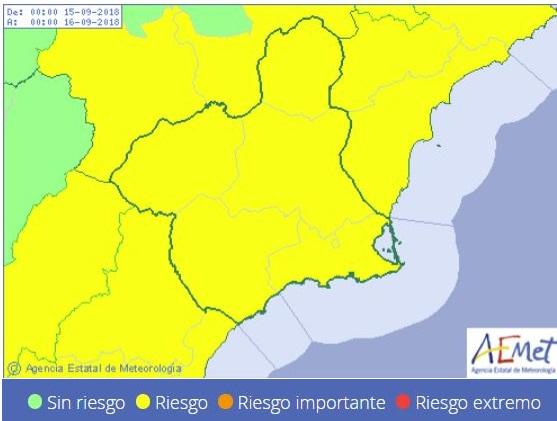 Aemet emite para mañana día 15 de septiembre fenómenos adversos de nivel amarillo por lluvias y tormentas en la Región de Murcia