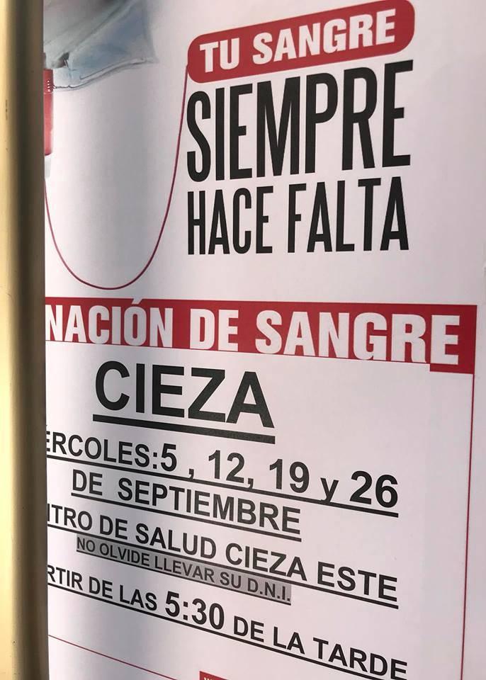 Imagen del cartel donación de sangre en Cieza.