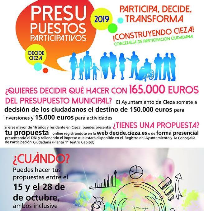 El lunes comienza la fase de presentación de propuestas de los presupuestos participativos 2019