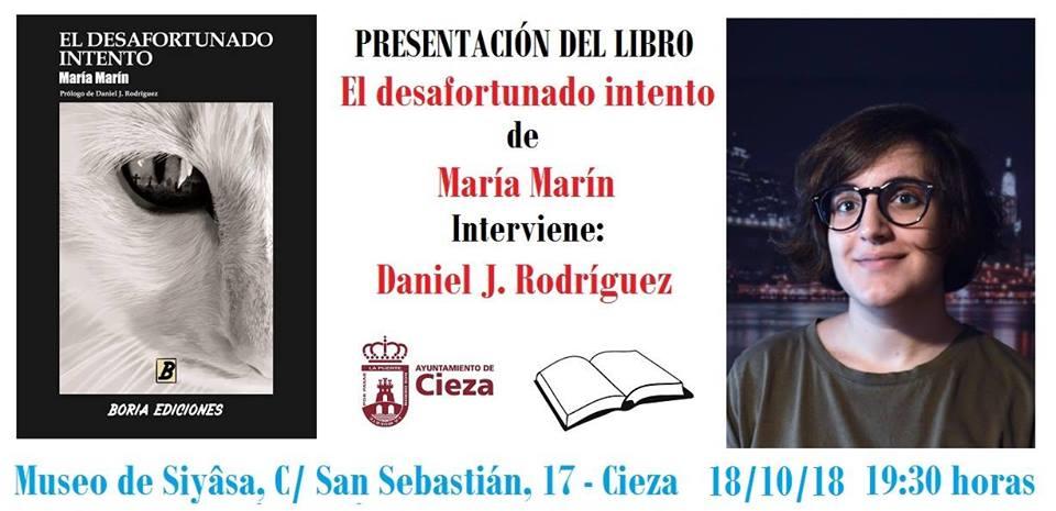 Presentación del primer libro de poesía de la ciezana María Marín, 'El Desafortunado Intento'
