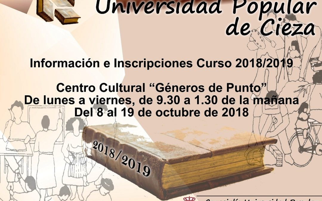 Abierto el plazo de inscripción en la Universidad Popular de Cieza para el curso 2018/2019
