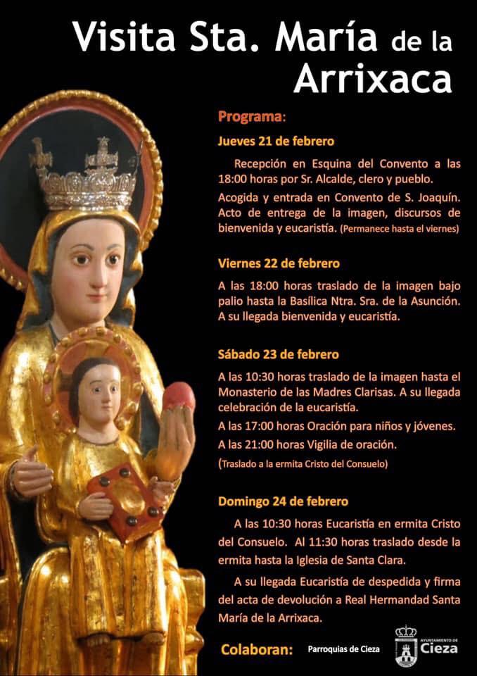 Programa de actos por la llegada de la Virgen de la Arrixaca a Cieza.