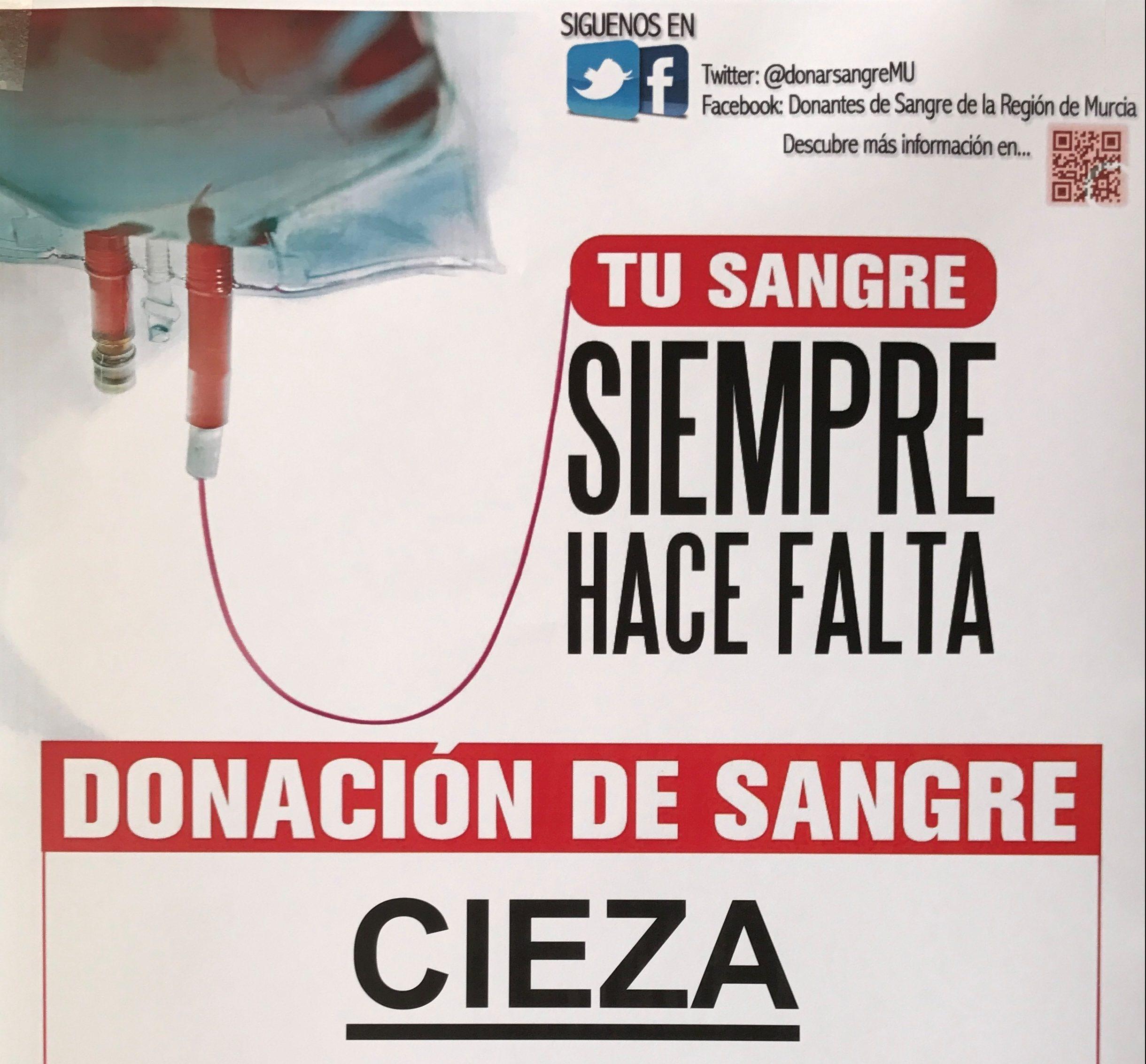 Imagen de cartel de la jornada de donación de sangre en Cieza.