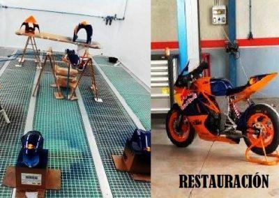 Montaje de fotografía de la Restauración de una motocicleta en Taller Radi-Car de Cieza.