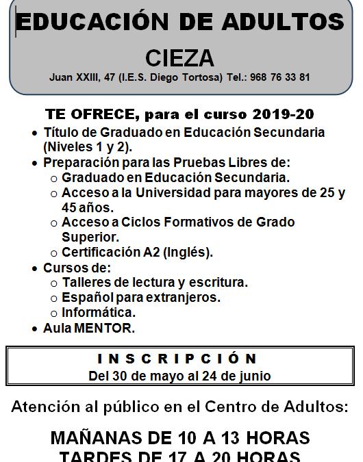La Escuela de Adultos de Cieza abre el plazo de inscripción para el curso 2018-20