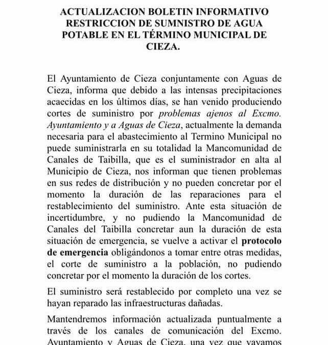Boletín informativo restricción de agua en Cieza