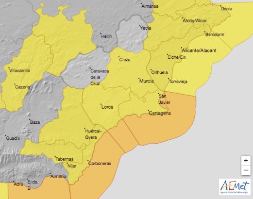 Cieza en nivel amarillo de alerta por fuertes lluvias este martes
