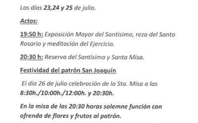 La Parroquia de San Joaquín celebra sus fiestas en honor a su Patrón